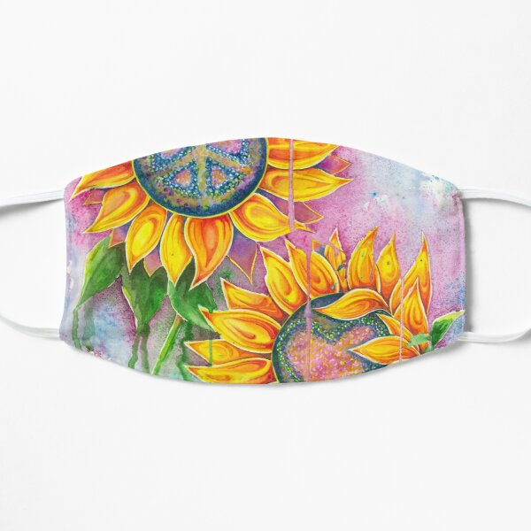 Peace and Love Sunflowers Flat Mask