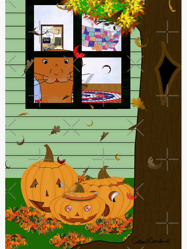 Oliver The Otter Looking at Jack-o-Lanterns Out his Bedroom Window by ButterflysAttic