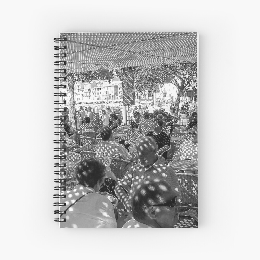 Cafe in Soler Black and White Spiral Notebook