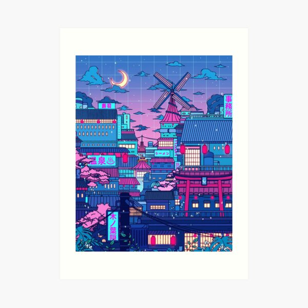 Cyberpunk Village Art Print