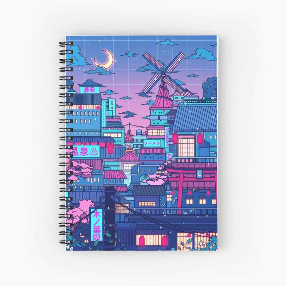 Cyberpunk Village Spiral Notebook