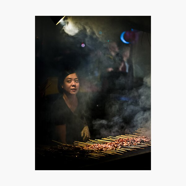 Satay Vendor - White Night Photographic Print