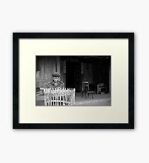 Man weaving baskets, Sapa, Vietnam Framed Print