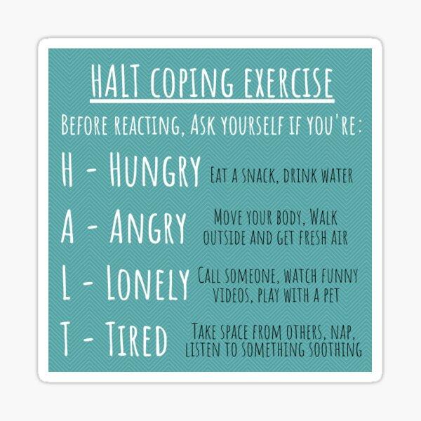 HALT Coping Exercise Sticker