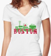 Boston Red Sox Fenway Park Women's Fitted V-Neck T-Shirt