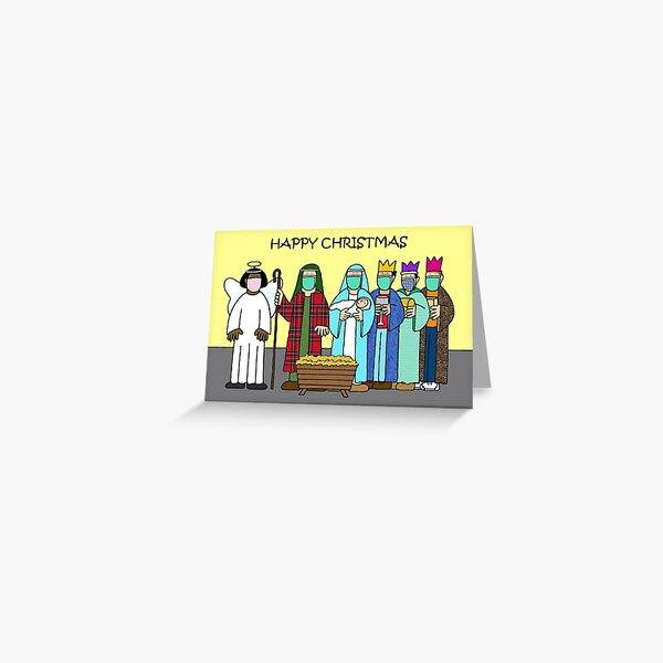 Covid 19 Christmas Nativity Scene Cartoon Greeting Card