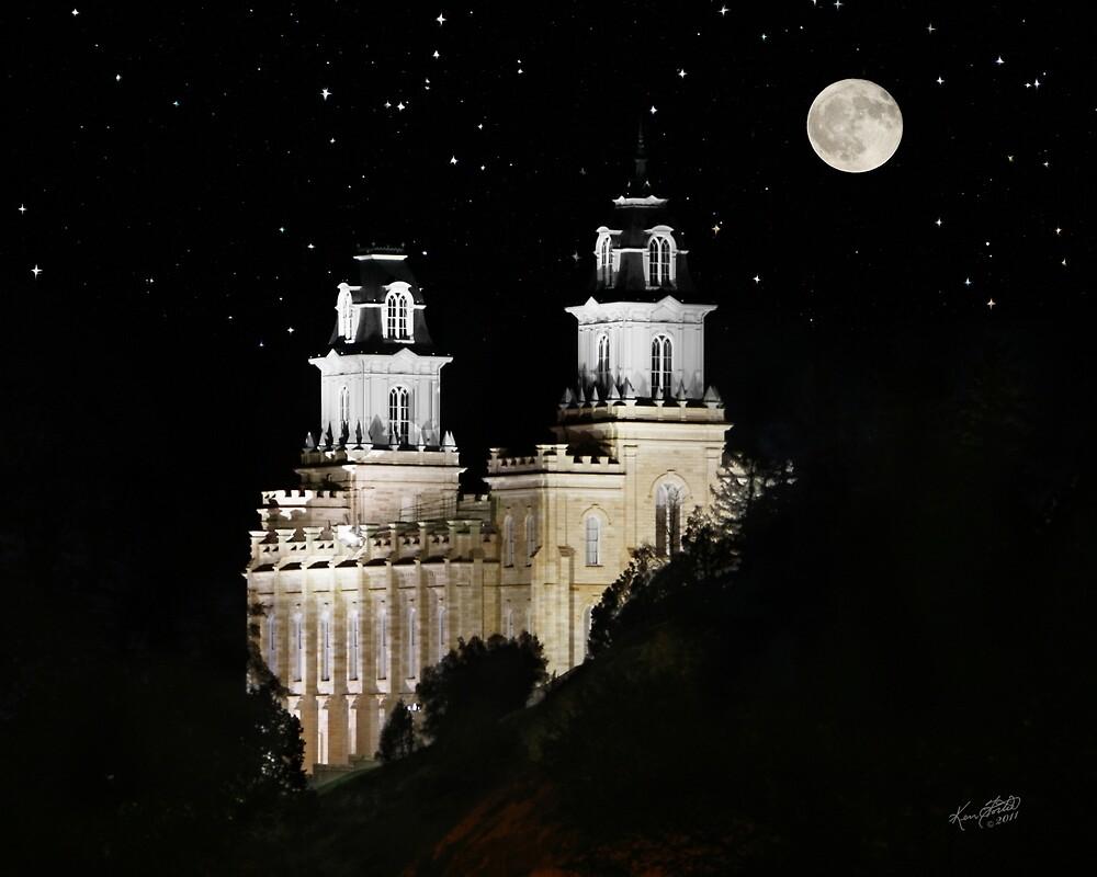 Manti Utah Temple - Full Moon 20x16 by Ken Fortie