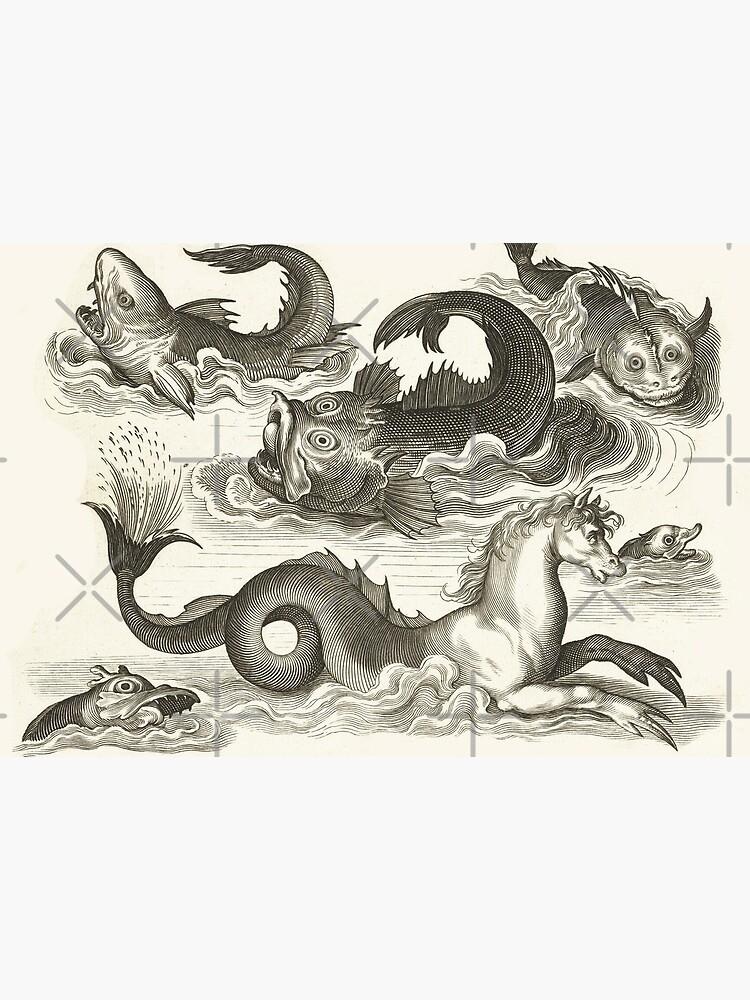 MEDIEVAL BESTIARY,Black White Fantastic Aquatic Animals and Sea Horse of Neptune by BulganLumini