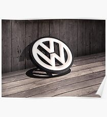 Old Wooden 3D style backdrop with a 3D VW Sign Poster
