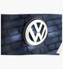 Vw Badge on an old blue wall Poster