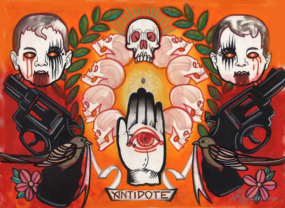 antidote, tattoo flash, guns, evil babies and skulls by resonanteye
