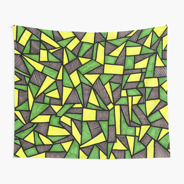 Stained Glass Geometric Pattern in Green and Yellow Tapestry