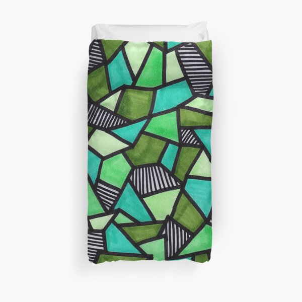 Stained Glass Geometric Pattern in Greens Duvet Cover