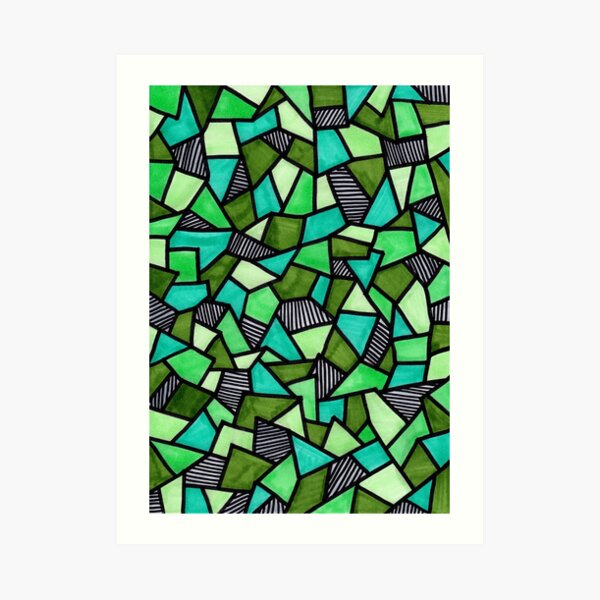 Stained Glass Geometric Pattern in Greens Art Print