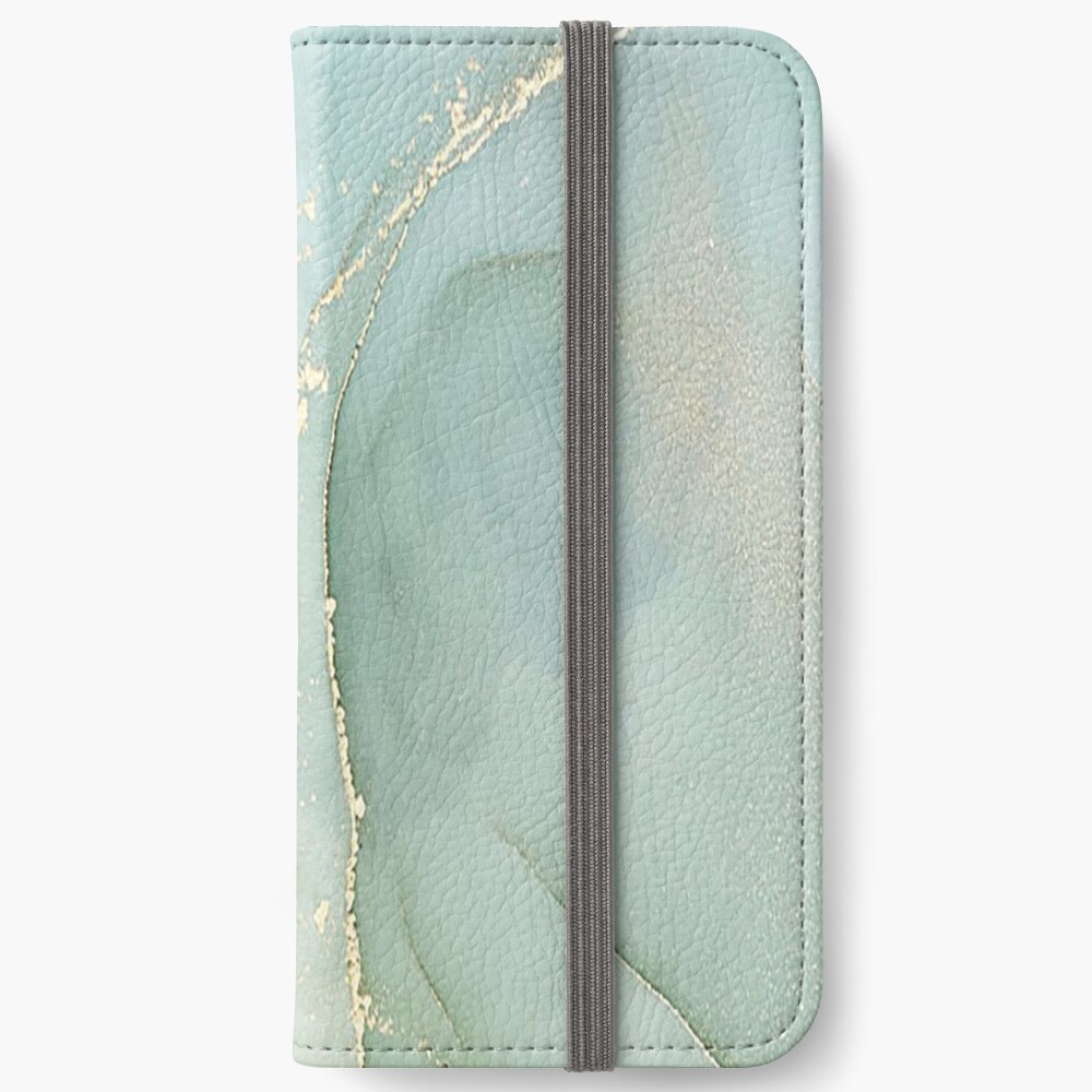 Soft Green Marble With Gold iPhone Wallet