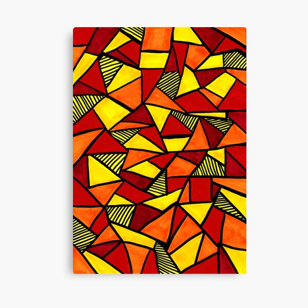 Stained Glass Geometric Pattern in Red and Yellow Canvas Print