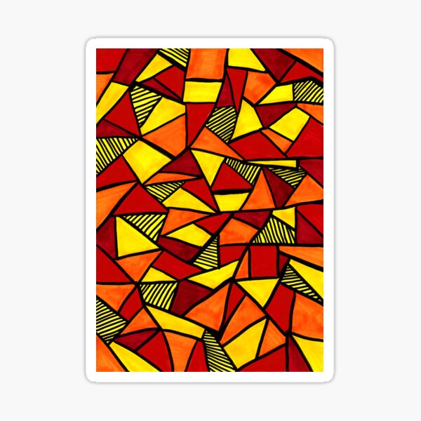 Stained Glass Geometric Pattern in Red and Yellow Sticker