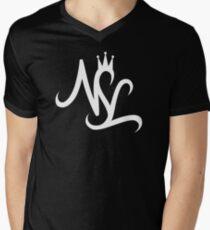 NSL White Crown Mens V-Neck T-Shirt