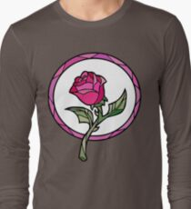 Stained Glass Rose   Beauty and the Beast Long Sleeve T-Shirt
