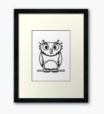 OWL bird nature uhu cool comic Framed Print