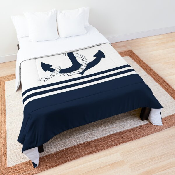 Nautical blue anchors with blue and white stripes Comforter