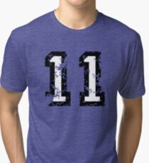 Number Eleven - No. 11 (two-color) white Tri-blend T-Shirt