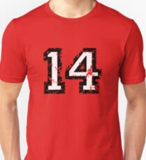 Number Fourteen - No. 14 (two-color) white Unisex T-Shirt
