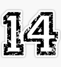 Number Fourteen - No. 14 (two-color) white Sticker
