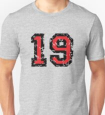 Number Nineteen - No. 19 (two-color) red Unisex T-Shirt