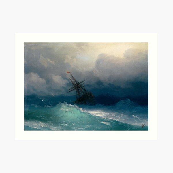 Ship on Stormy Seas by Ivan Aivazovsky Art Print