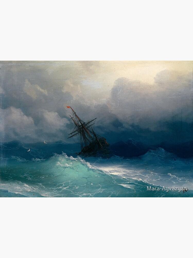 Ship on Stormy Seas by Ivan Aivazovsky by Mara-Ayvazyan