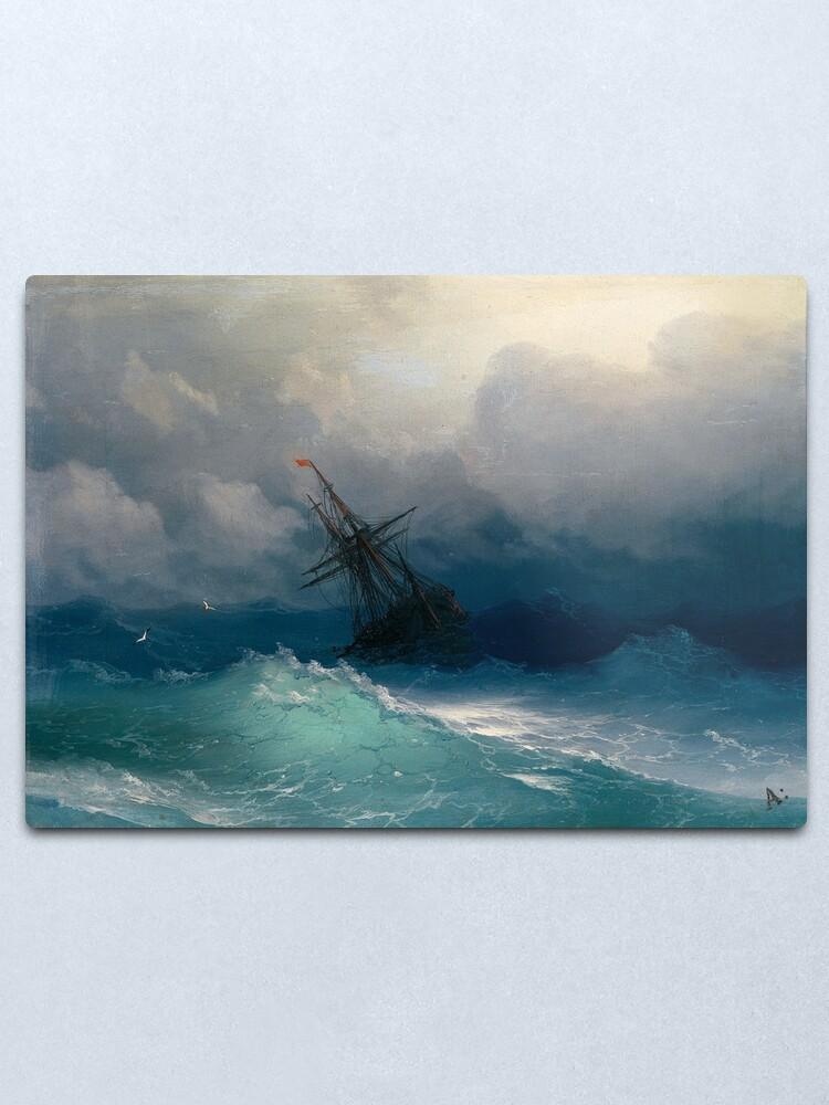 Alternate view of Ship on Stormy Seas by Ivan Aivazovsky Metal Print