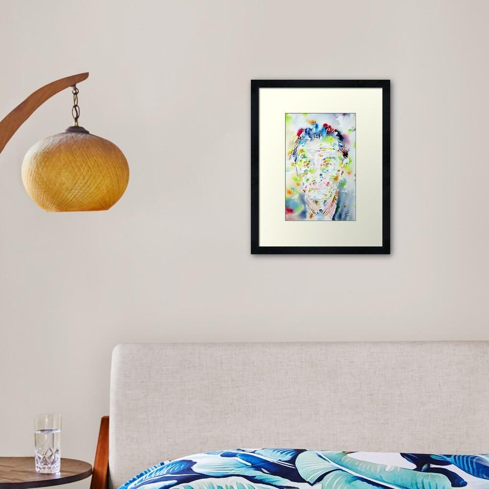 603843789 marcel duchamp - watercolor portrait | framed art print