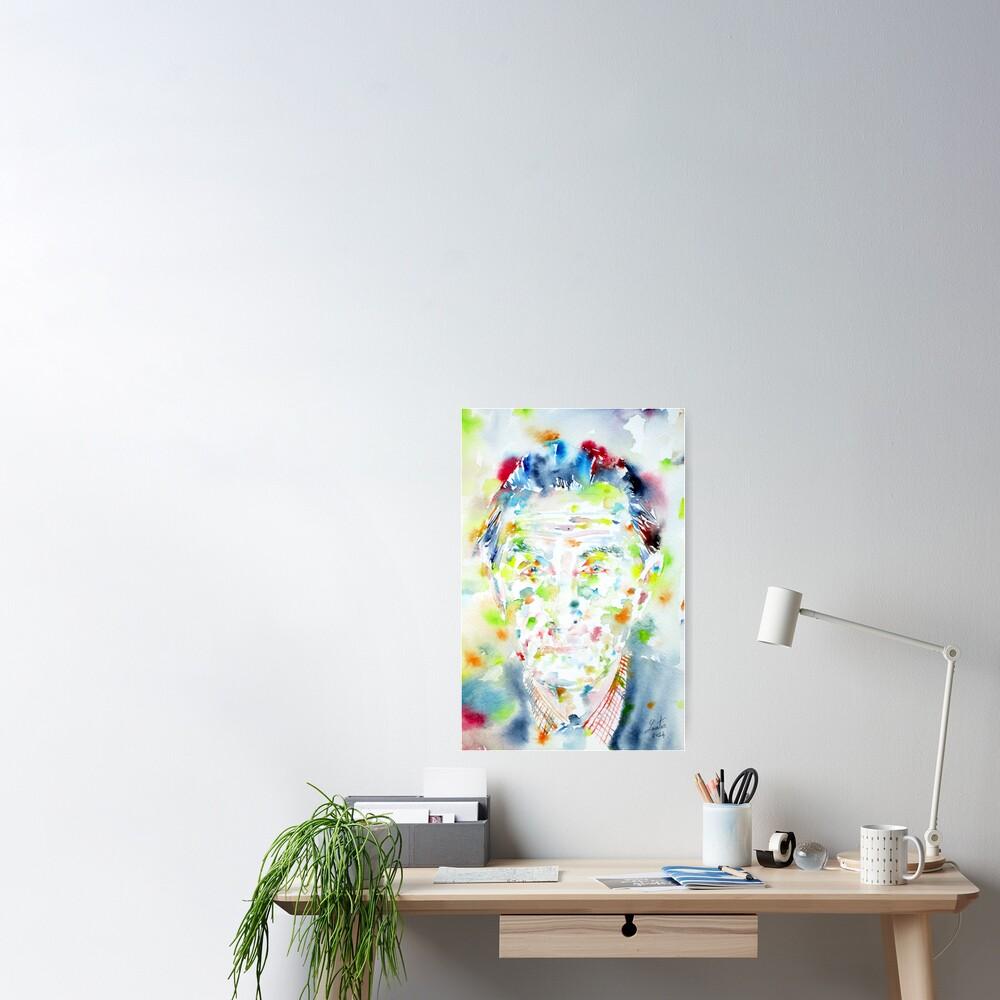 603843789 marcel duchamp - watercolor portrait | poster