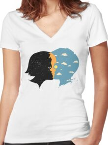 Night and day Women's Fitted V-Neck T-Shirt