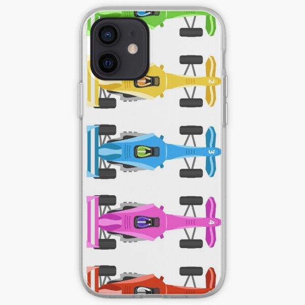 Cinco autos de carrera Funda blanda para iPhone