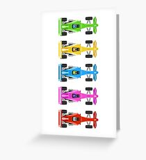 Five Race Cars  Greeting Card