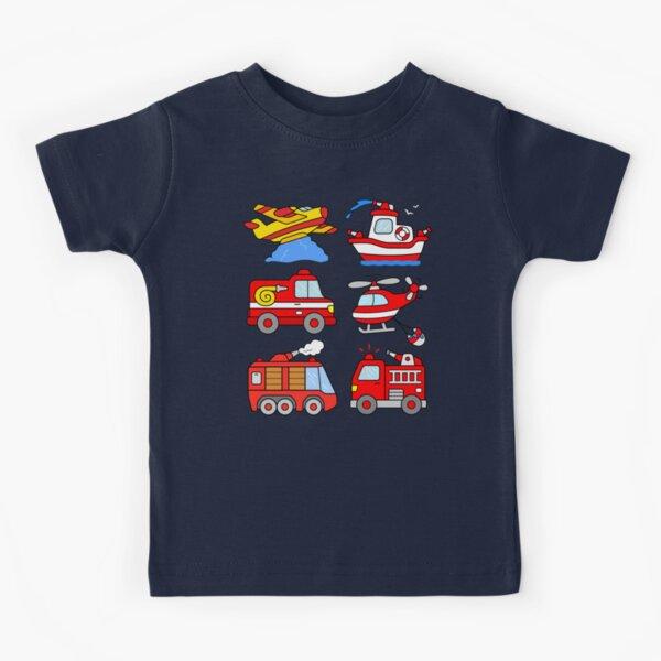 Firetruck Firefighter Boat Plane Helicopter Kids T-Shirt