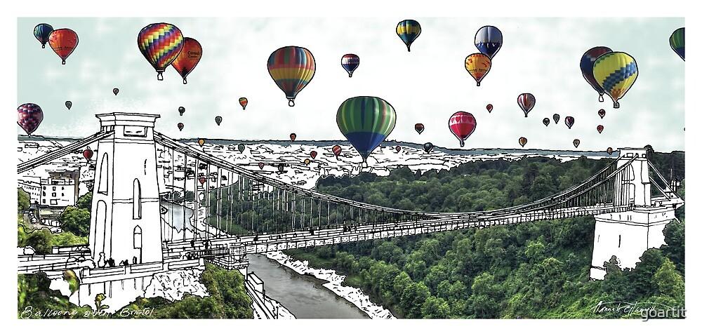 Balloon takeoff UK - digital file, summer, decor, wall art, modern, city, balloon, sky, colour, high, festival, bridge by hannah glanvill by goartit