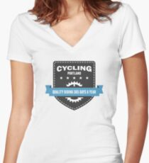 Cycling 365 Days a Year Women's Fitted V-Neck T-Shirt
