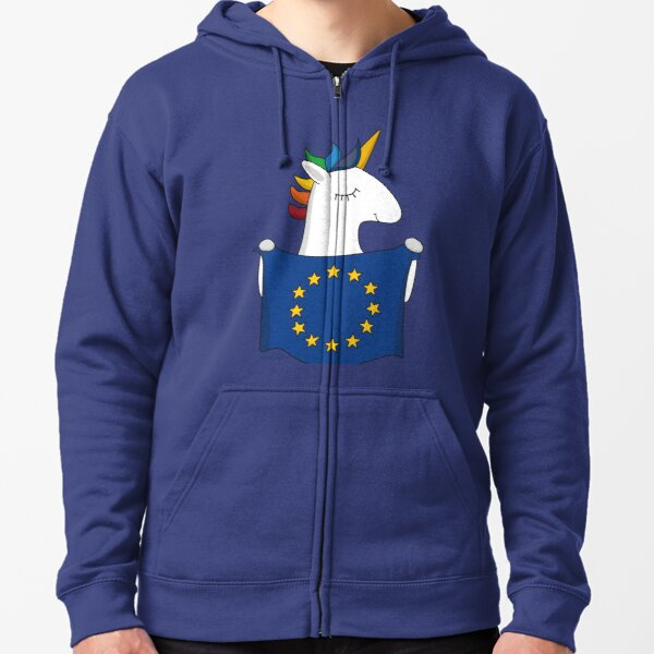 Europe unicorn Zipped Hoodie