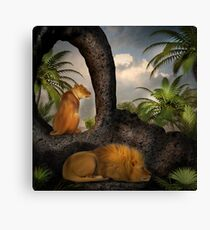 She Watches As He Rests Canvas Print