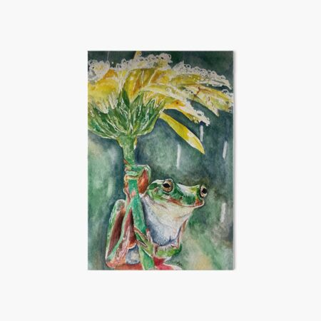 frog on a flower in the rain Art Board Print