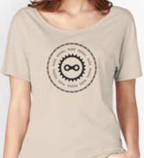Ride & Pedal Black Text Women's Relaxed Fit T-Shirt