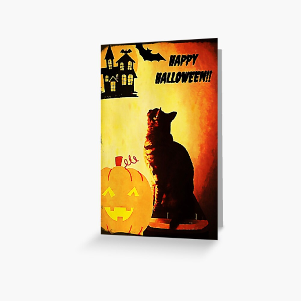 Happy Halloween Cat Greeting Card