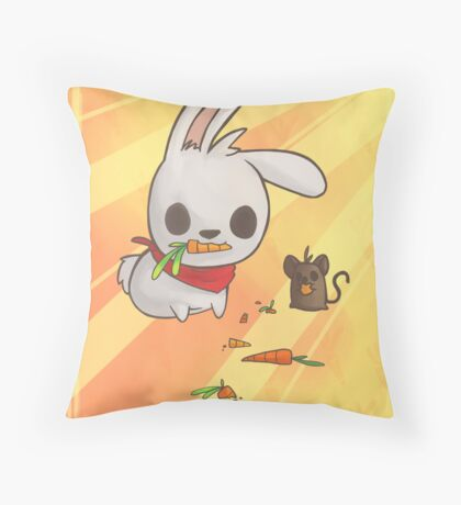 Bunny and Mouse Throw Pillow