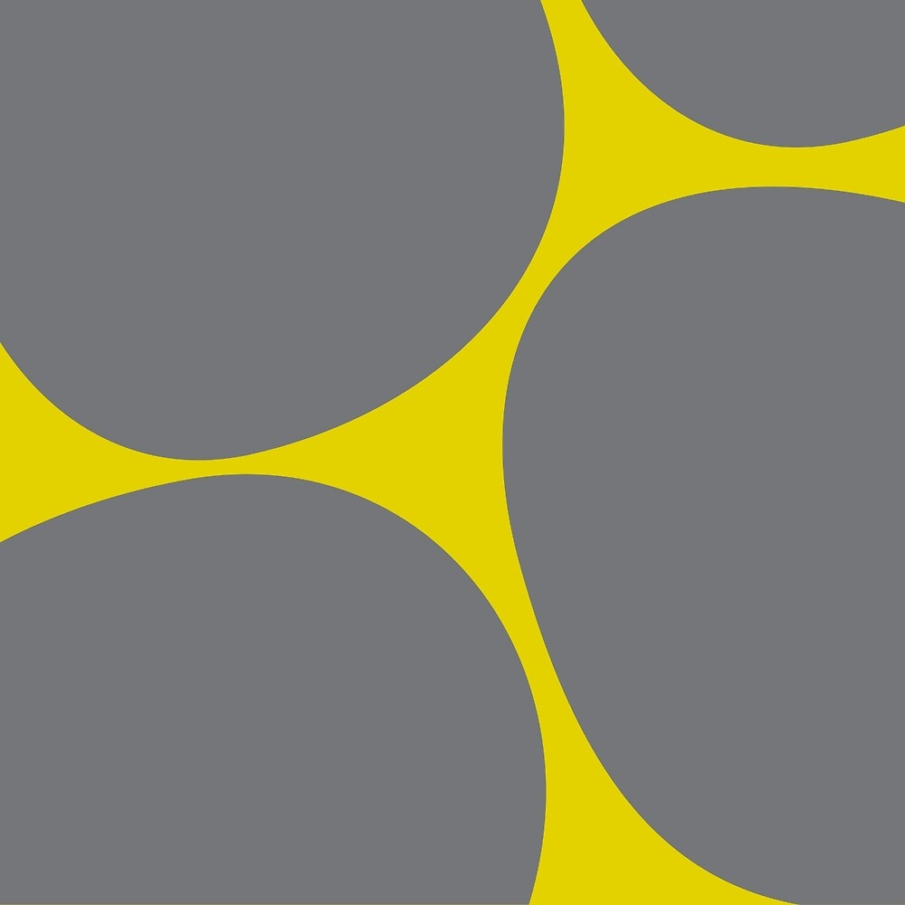 Big Dots in Gray & Yellow by LauraMalkasian