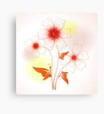 Funny colorful illustration with abstract flowers and butterfly Canvas Print