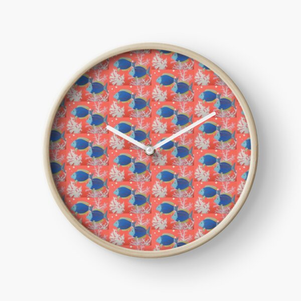 Blue Fish Flamingo Pink Coral on a Summer Swim Pattern Clock