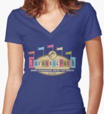 Jurassic Land Women's Fitted V-Neck T-Shirt